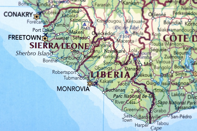 Map of Sierra Leone and Liberia.