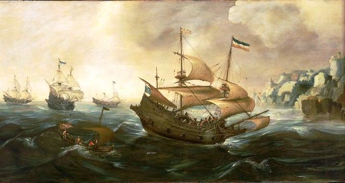 Andries-van-Eertvelt-xx-Dutch-Ships-Running-Down-Onto-a-Rocky-Shore
